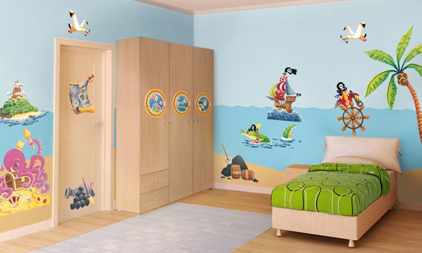 Stickers murali bambini cameretta all 39 arrembaggio for Decorazioni cameretta bambini